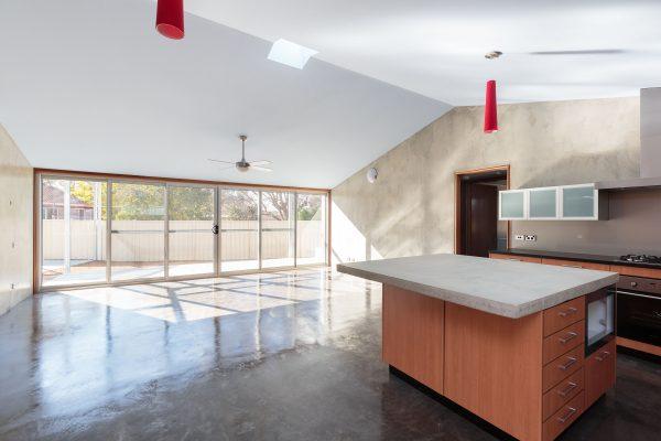 06 - Strine Design - Canberra builder - Strine Environments - Solstice House 1 - internal - prefab concrete kitchen - concrete benchtops
